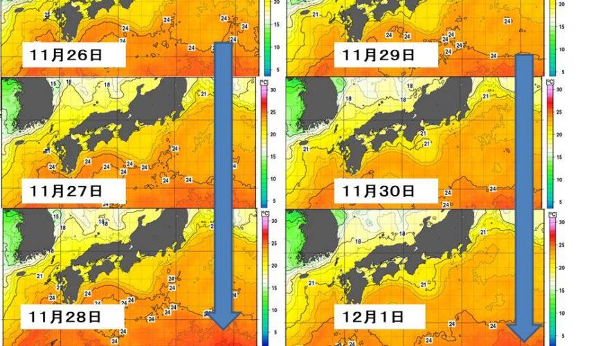 最近、今冬の近畿の海水温変化と...