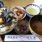 福井県常神半島、三方五湖のお食事処ドライブインよしださんのイカ丼がオススメ